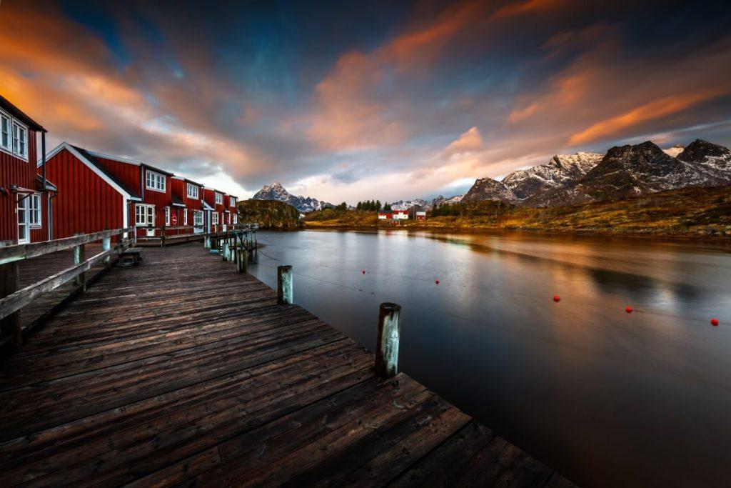 norway-village-evening-lake-mountains
